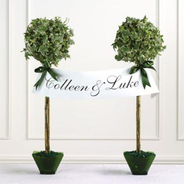 Topiaries with Name Banner