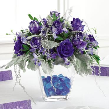 Glittered Blue-Dyed Rose Reception Centerpiece