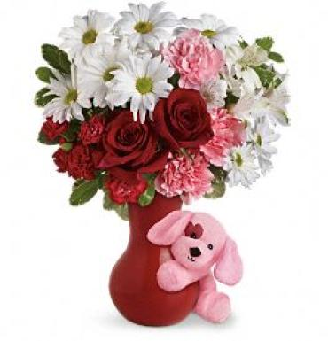 Send A Hug Puppy Love Bouquet with Red Roses
